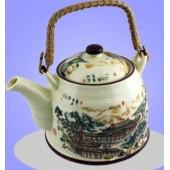 """""""TimA"""" Фарфоровый чайник 0,8 л с ситом, бамбуковая ручка, серия """"Императорский домик""""   ЧФ-015"""