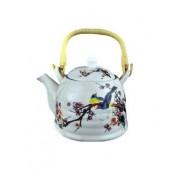 """""""TimA"""" Фарфоровый чайник 0,8 л с ситом, бамбуковая ручка, серия """"Птицы на ветке""""   ЧФ-021"""