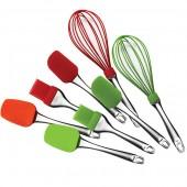 """""""Maestro"""" Набор кухонных предметов (лопатка, лопатка-ложка, кисточка, венчик), силикон   MR-1590"""