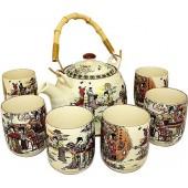 """""""TimA"""" Фарфоровый чайный набор (Чайник 0,8 л, чашки 6 шт) серия """"Женщины""""   НЧФ-02"""