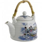 """""""TimA"""" Фарфоровый чайник 0,6 л с ситом, бамбуковая ручка, серия """"Девушки в облаках""""   ЧФ-024"""