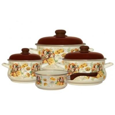 2456/Набор посуды 7 предметов (2,0л, 3,5л, 5л + ковш 1,5л в подарок), мет.крышки/Сластена