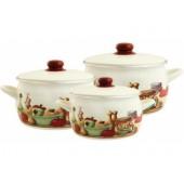 2363/Набор посуды 6 предметов (2,2л, 4,0л, 5,3л) мет.крышки/Вилладжо
