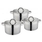 """""""Hoffmann"""" Набор посуды 6 предметов (1,9л; 2,7л;3,6л) нерж.сталь, 5-ти слойн.капс.дно   НМ 5908"""