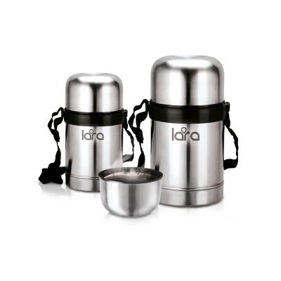 Термос LARA (сталь) - 750 мл, ШИРОКАЯ ГОРЛОВИНА, КЛАПАН, ремешок, 2-е стенки, крышка-чашка, LR 04-51