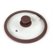 """""""TimA"""" Крышка стеклянная с силиконовым ободком 28 см, коричневая   4828BR"""