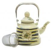"""""""Hoffmann"""" Чайник заварочный 1,1 л с сеткой, эмаль   НМ 4525"""