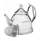 """""""Hoffmann"""" Чайник 1,2 л заварной с сеткой, нерж.сталь, 3-х слойное капсул.дно, индукция НМ 5514"""