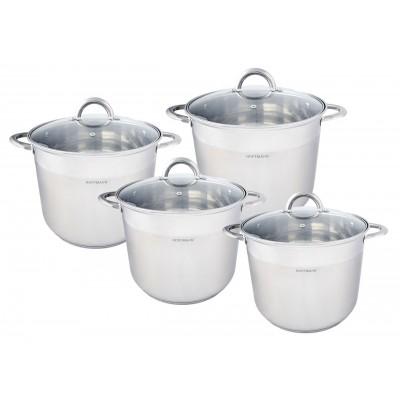 """""""Hoffmann"""" Набор посуды 6 предметов (14,2 л; 16,2 л; 19 л) нерж.сталь, 5-ти слойное капс.дно, индукция   НМ 6699"""